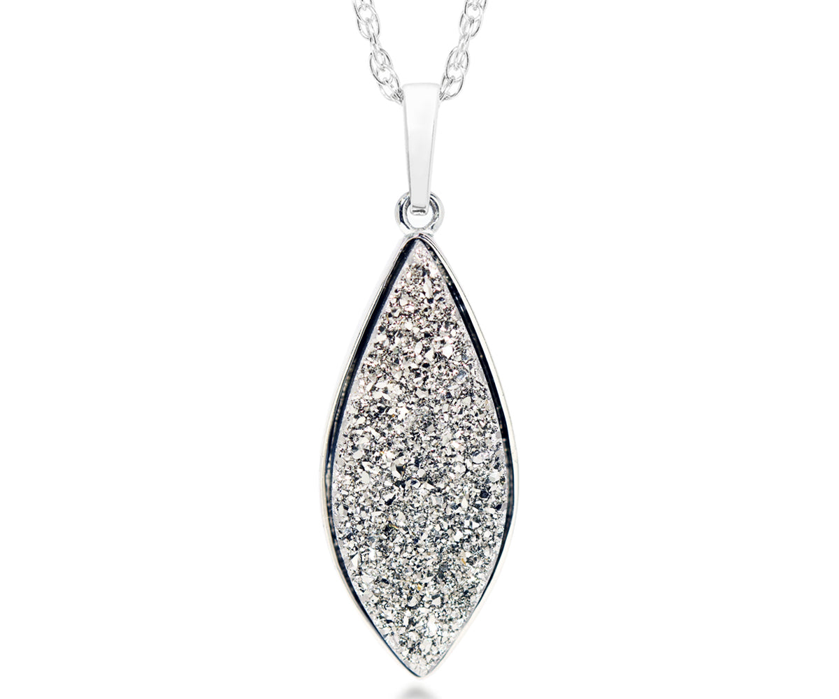 Marquise Platinum Druzy Necklace