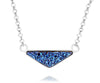 womens triangle sapphire blue druzy silver drusy necklace
