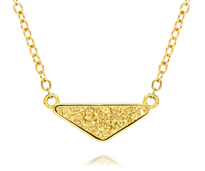 womens triangle 18k gold druzy 14k vermeil drusy necklace