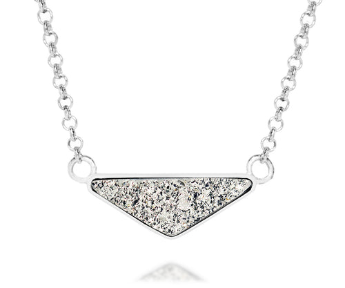 womens medium triangle platinum druzy silver drusy necklace