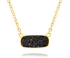 Ambrosia womens medium rectangle black druzy 14k vermeil drusy necklace