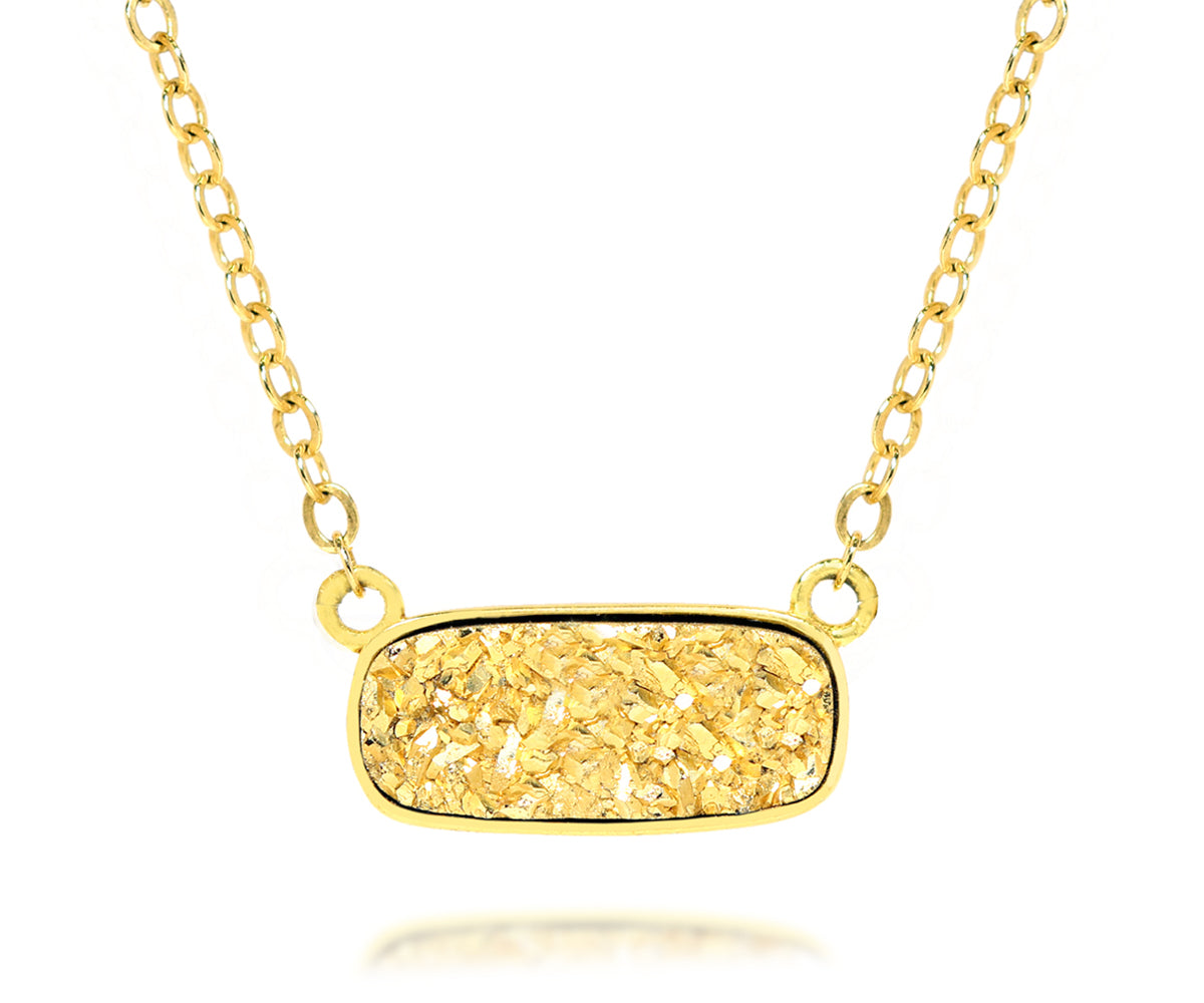 ambrosia womens 18k gold druzy medium rectangle 14k vermeil drusy necklace