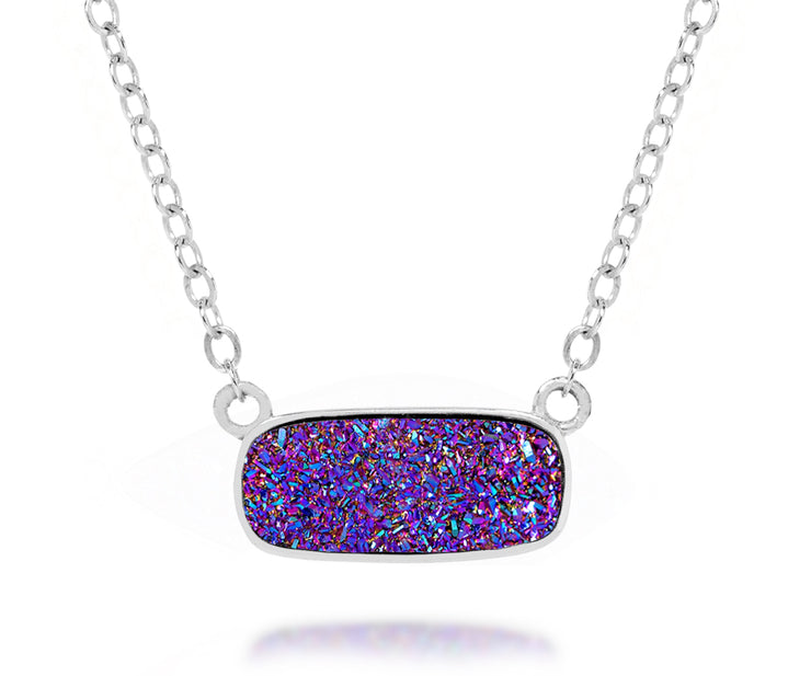 Ambrosia womens medium purple rainbow druzy silver drusy necklace