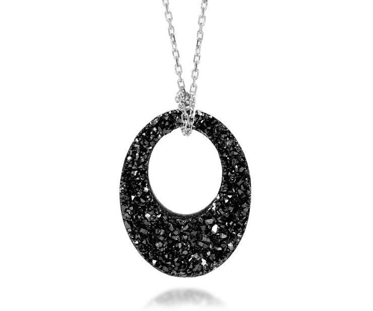 Ambrosia open oval black druzy fashion silver drusy necklace