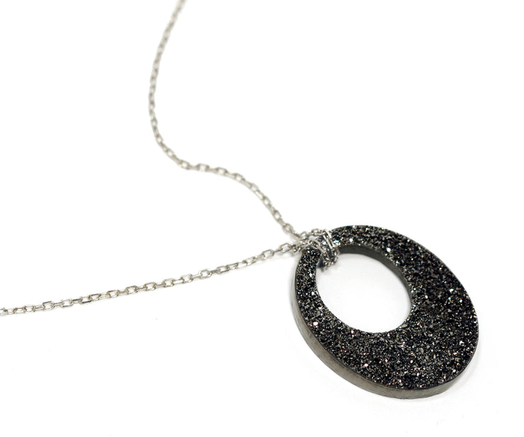 Open Oval Black Druzy Necklace