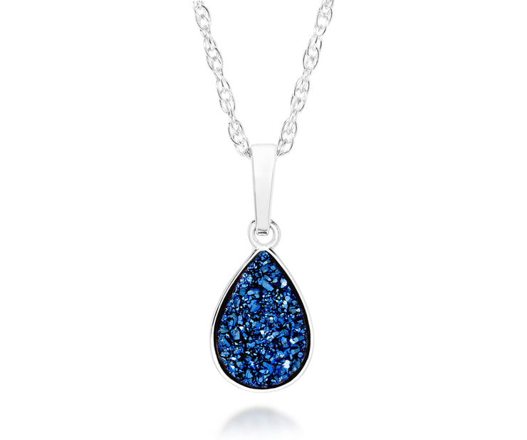 ambrosia womens small sapphire blue teardrop druzy sparkle drusy silver necklace