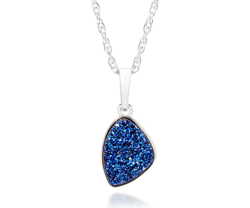 ambrosia womens small trillion sapphire blue druzy silver drusy necklace