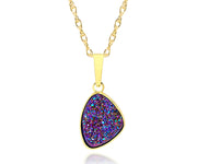ambrosia womens trillion purple rainbow druzy 14k vermeil drusy necklace