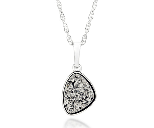 ambrosia womens small trillion platinum druzy necklace silver drusy necklace