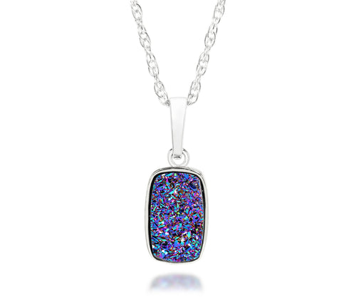 Small Rectangle Purple Rainbow Druzy Necklace