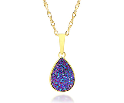 ambrosia womens purple rainbow druzy teardrop drusy necklace
