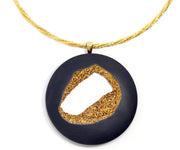 womens large 18k gold open window druzy quartz necklace