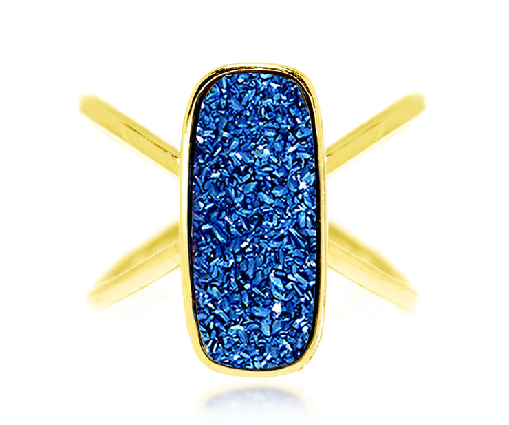Ambrosia blue druzy rectangle criss cross gold fashion drusy ring
