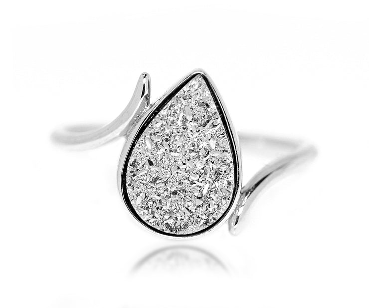 bypass twist platinum druzy fashion silver drusy ambrosia ring