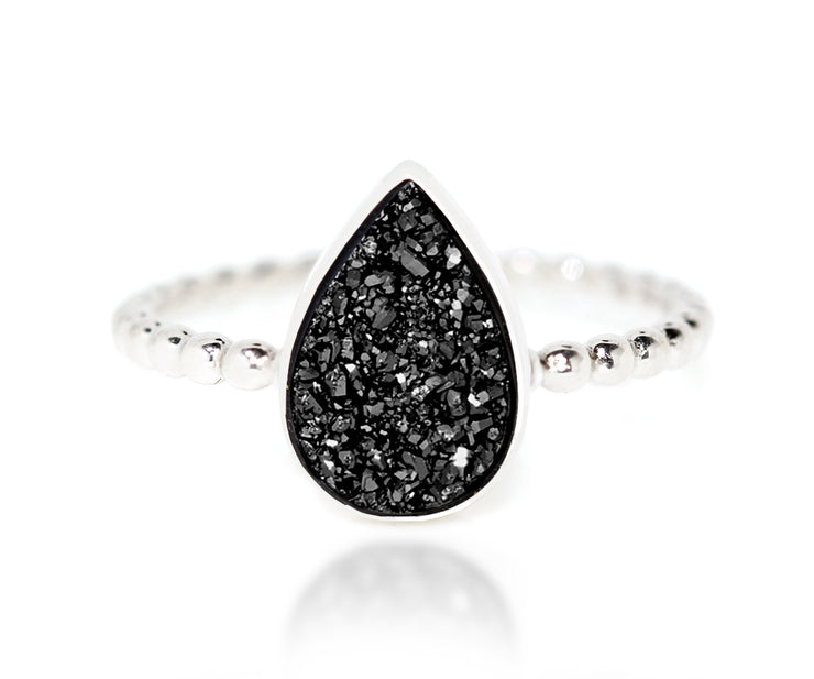 Ambrosia black teardrop druzy stacking fashion drusy quartz ring