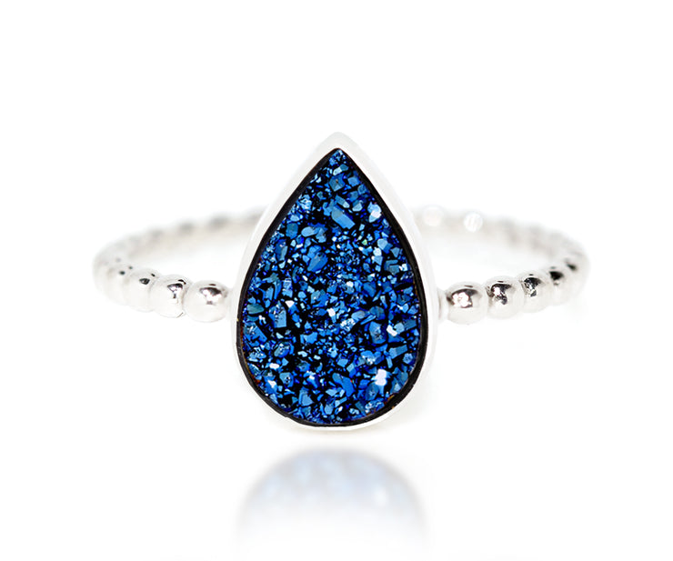 Ambrosia titanium blue druzy fashion stacking beaded drusy quartz silver ring