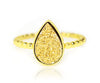 ambrosia 18k gold teardrop druzy ring beaded stackable drusy vermeil ring