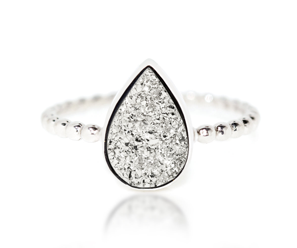 Ambrosia small teardrop platinum druzy quartz stacking fashion drusy silver ring