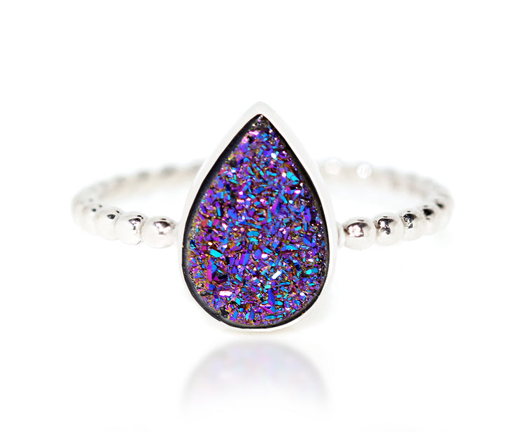 Ambrosia titanium purple rainbow teardrop druzy beaded fashion drusy quartz silver ring