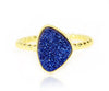 Ambrosia trillion blue sapphire druzy 14k yellow gold vermeil stacking drusy ring