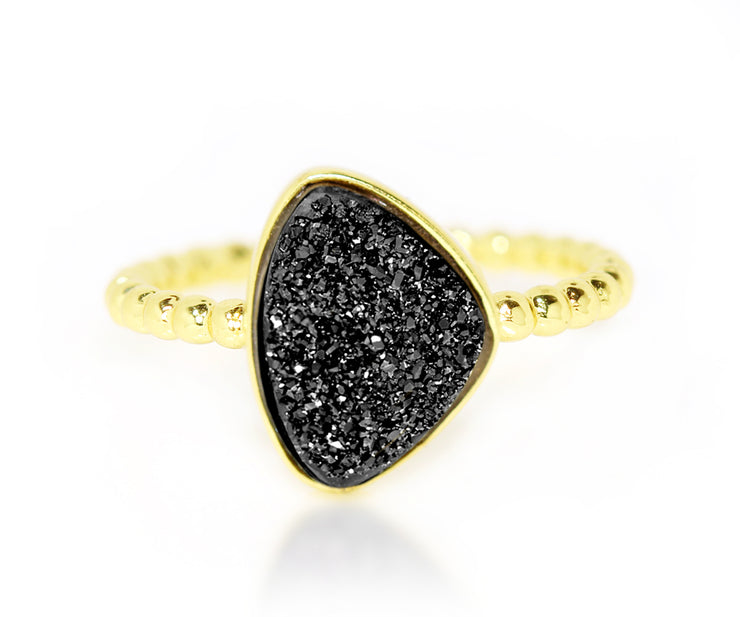 ambrosia black trillion titanium druzy ring yellow gold vermeil stacking ring