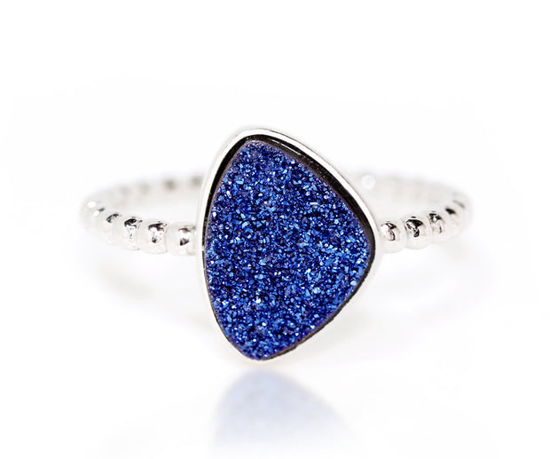 Ambrosia trillion sapphire blue druzy silver beaded stacking drusy ring