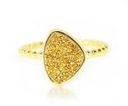 ambrosia trillion 18k gold druzy stacking ring yellow gold vermeil