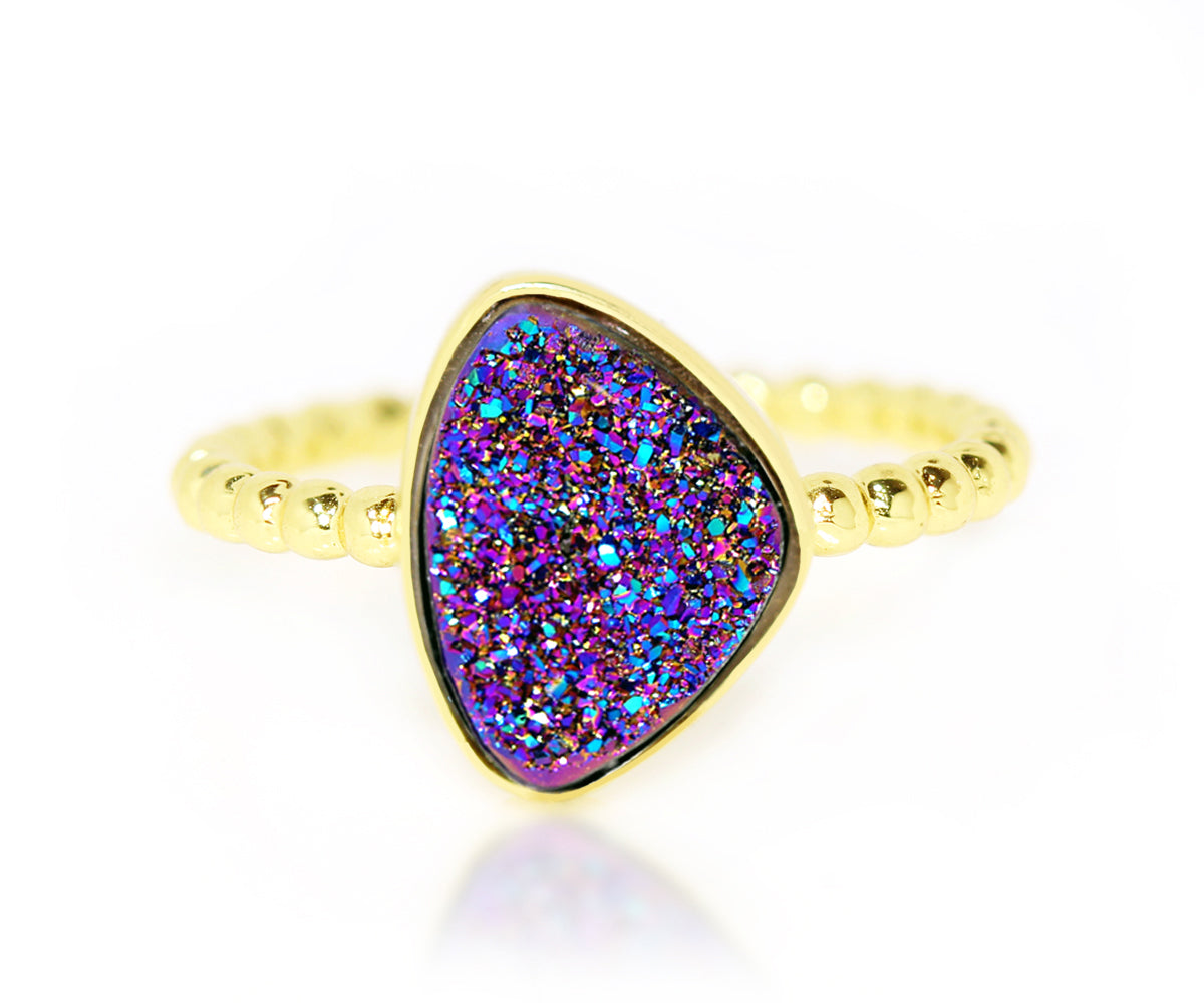Trillion Purple Rainbow Druzy 14k Gold Vermeil Ring