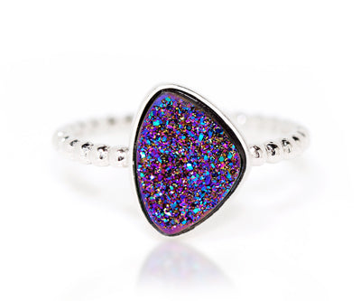 Ambrosia trillion purple rainbow druzy beaded stacking silver drusy ring