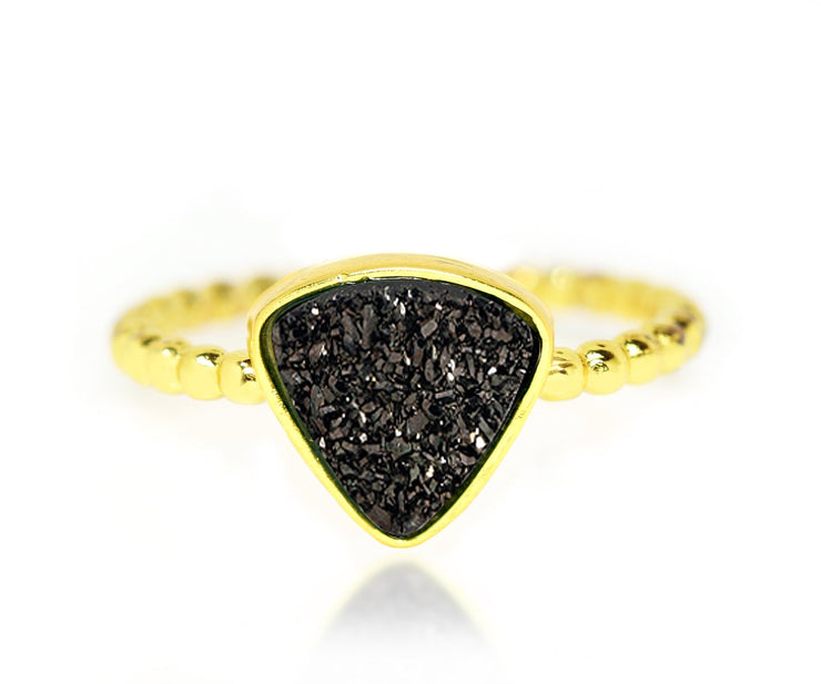 Ambrosia small triangle black druzy beaded fashion drusy gold ring
