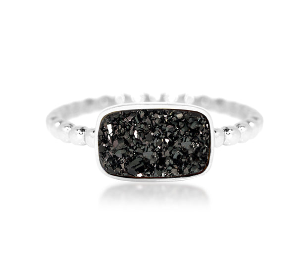 small horizontal rectangle black druzy quartz beaded sterling silver drusy ring