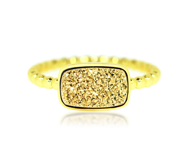 Ambrosia 18k yellow gold rectangle druzy vermeil fashion drusy ring