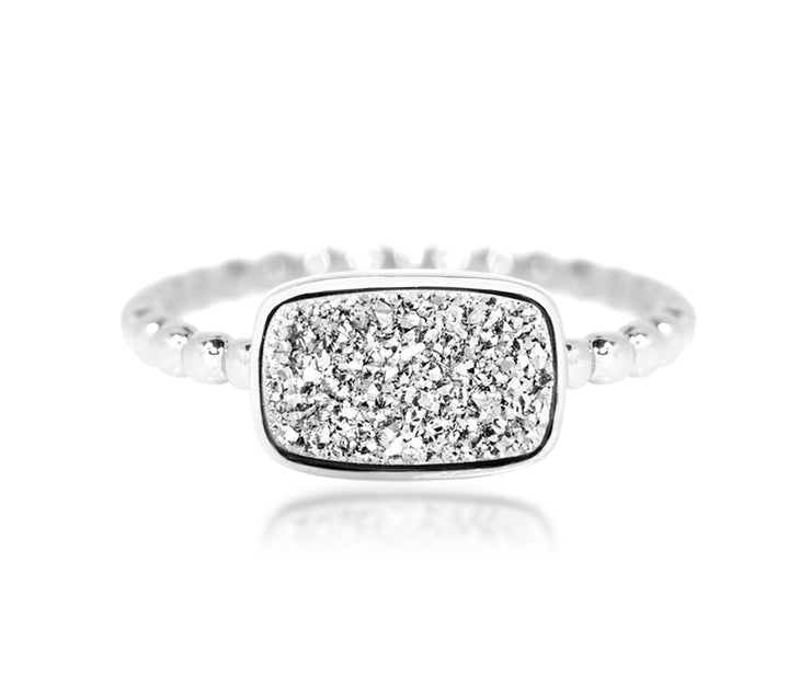 Fashion platinum druzy quartz small horizontal rectangle beaded sterling silver drusy ring