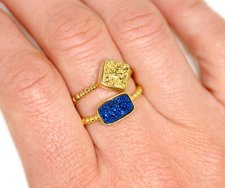 Horizontal Rectangle 18K Gold Druzy Ring