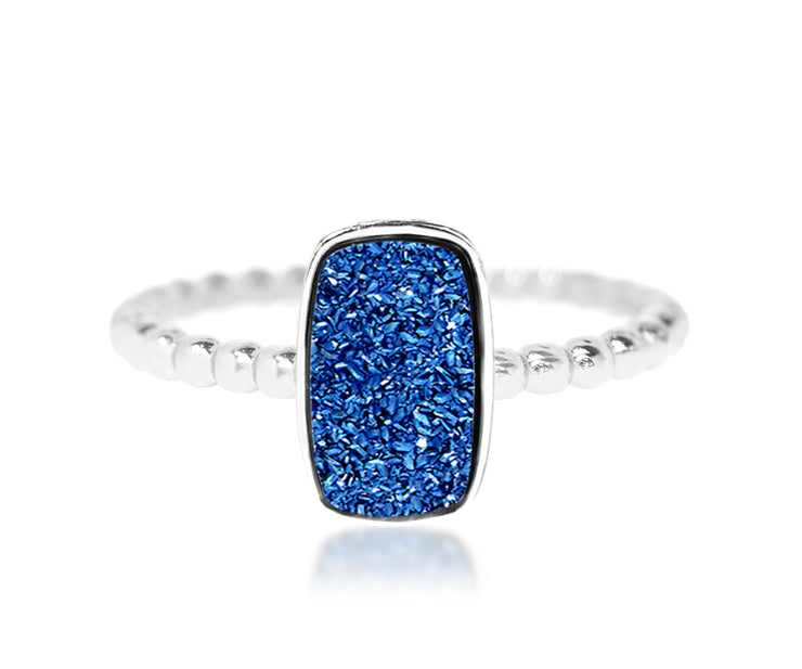 Fashion stacking beaded small rectangle vertical blue druzy quartz sterling silver drusy ring