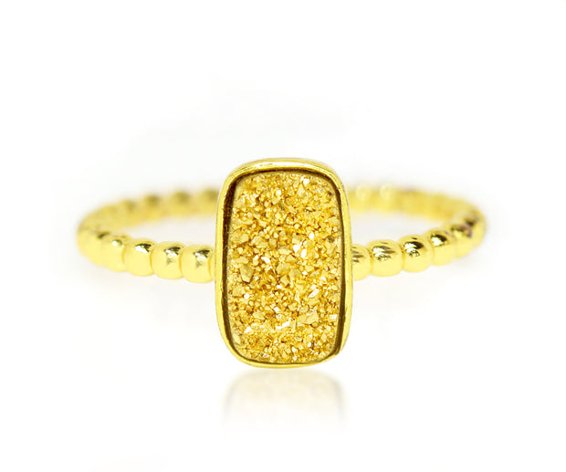 Ambrosia 18k gold druzy small rectangle vertical beaded stacking drusy ring