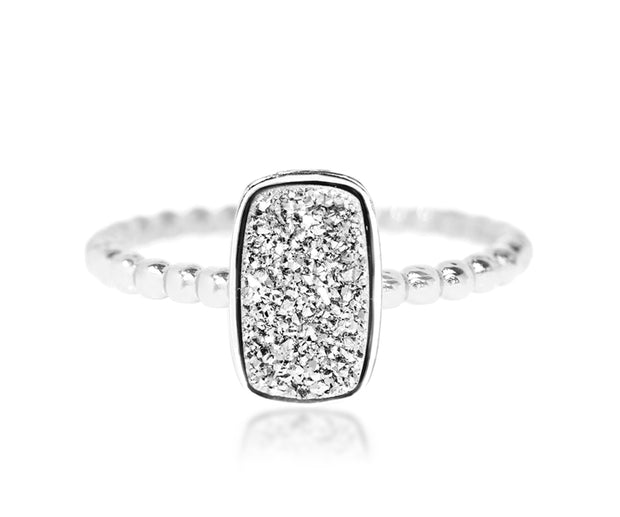 stacking beaded small vertical rectangle platinum druzy quartz sterling silver drusy ring