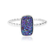 Ambrosia small rectangle vertical purple rainbow druzy stacking beaded silver drusy ring