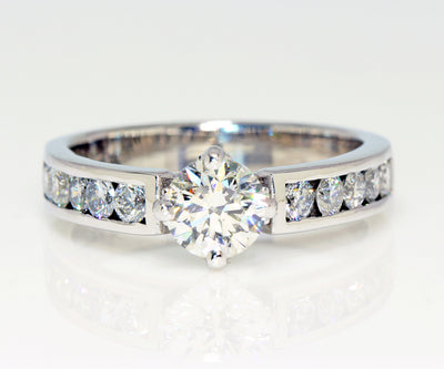 classic simple diamond channel ballpark set engagement ring white gold