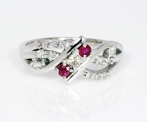 unique curved diamond and ruby custom redesigned ring
