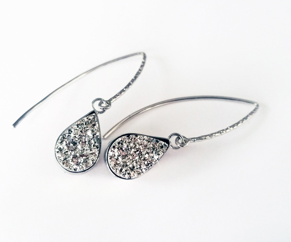 Hammered Teardrop Druzy Earrings Side View