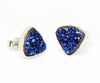 Small Triangle Blue Druzy Stud Earrings