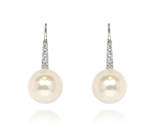 womens simple classic pearl and crystal wedding bridal earrings
