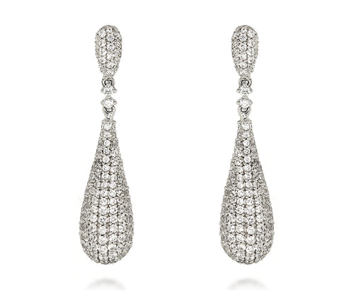 womens wedding bridal pave crystal teardrop statement silver fashion earrings