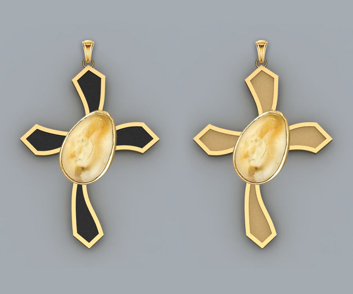 Elk Ivory Teeth Gold Cross Pendant
