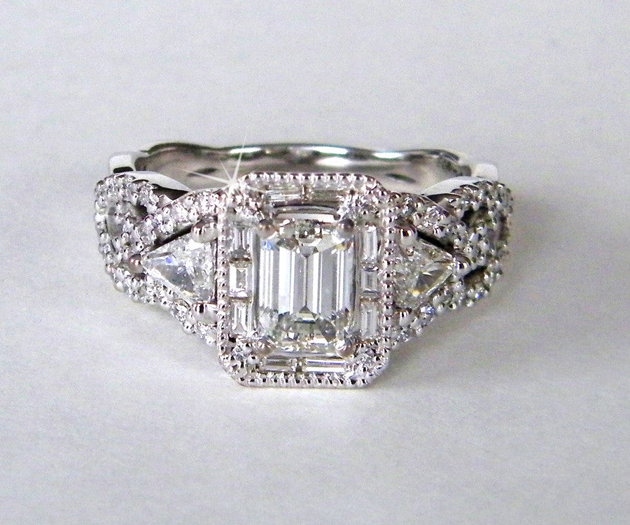 modern twist emerald cut halo wedding ring redesigned