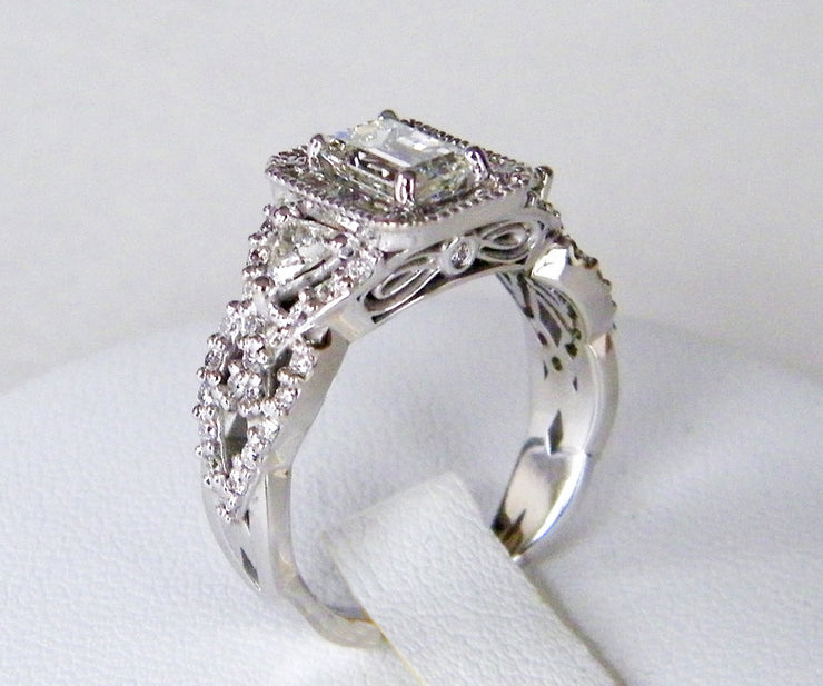 Emerald Diamond Halo Wedding Ring Redesign
