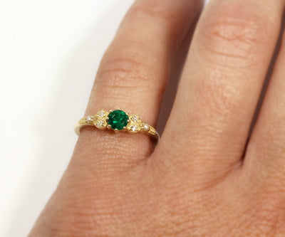 Vintage Emerald Diamond Pearl Engagement Ring