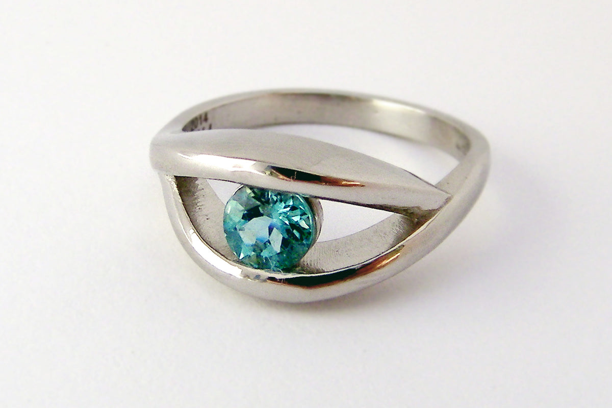 custom design teal tourmaline ope bypass engagement ring