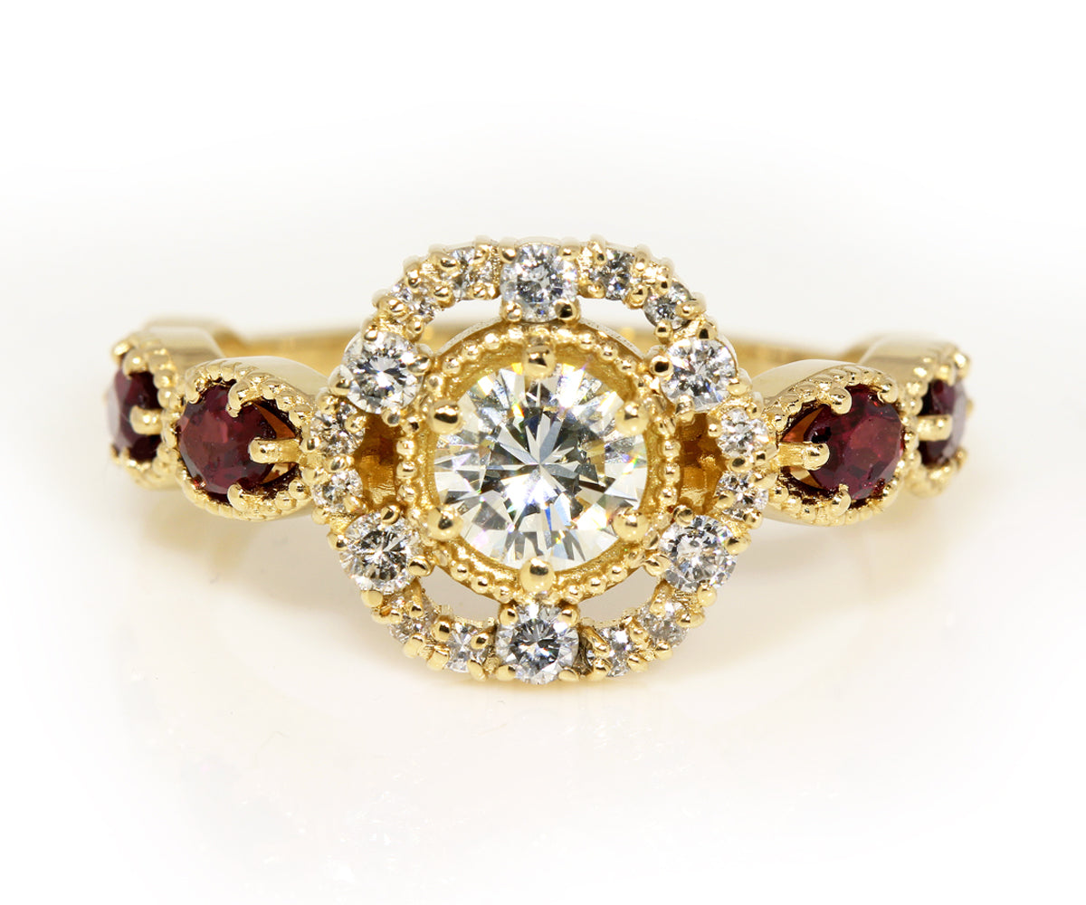 Diamond and Garnet Floral Custom Engagement Ring